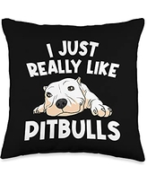 Best Pittie Pup & Bull Terrier Bulldog Owner Arts Funny Pitbull Gift For Men Women Pet Canine Dog Puppy Animal Throw Pillow, 16x16, Multicolor