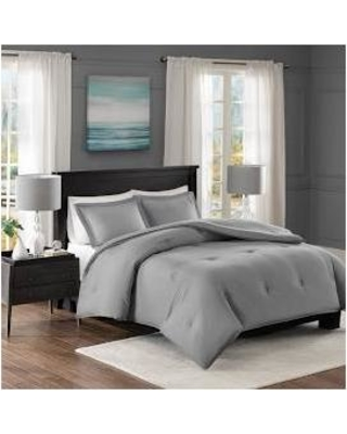 Madison Park Essentials Clay Twin Yarn-Dyed Heather Weave Microfiber Down  Alternative Comforter Mini Set 7b415e599