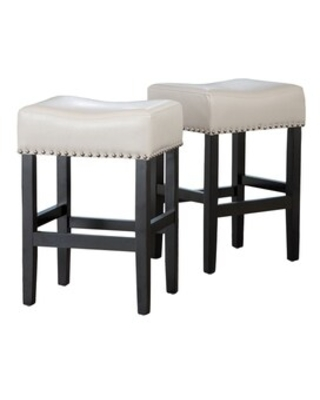 Lisette 26-inch Backless Ivory Leather Counter Stool (Set of 2) by Christopher Knight Home (Lisette Backless Ivory Counter Stool (Set of 2))