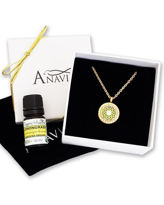 Anniversary Day Gift for Her Dream Catcher Wife Girlfriend Diffuser Crystal Rhinestone Necklace & Organic Essential Oil Aromatherapy Jewelry Birthday Gift Set - Gold Necklace & Lemongrass Oil