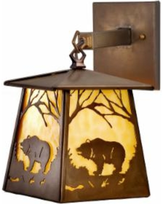 Meyda Lighting Grizzly Bear At Dawn 12 Inch Wall Sconce - 82640