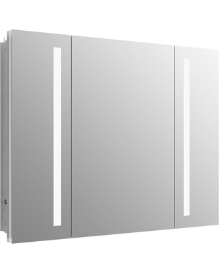 KOHLER Verdera 40-in x 30-in Lighted LED Surface/Recessed Mirrored Rectangle Medicine Cabinet with Outlet | K-99011-TLC-NA