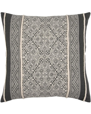 RIZTEX HDC Black/Ivory Striped With Braided Cording Applied Cotton Poly Filled 20 in. x 20 in. Decorative Throw Pillow
