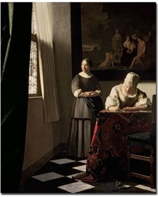 """Trademark Art """"Lady Writing a Letter with Her Maid 1670"""" by Jan Vermeer Painting Print on Wrapped Canvas BL0046-C2632GG"""