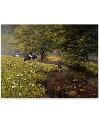 """Charlton Home 'Cattle By The Stream' Oil Painting Print on Wrapped Canvas CHRH7952 Size: 18"""" H x 24"""" W x 2"""" D"""