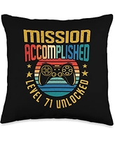 BCC Vintage Gamer Birthday Party Shirts & Gifts Mission Accomplished Level 71 Unlocked 71st Birthday Gamer Throw Pillow, 16x16, Multicolor