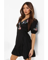 Womens Embroidered Wrap Puff Sleeve Smock Dress - Black - 14