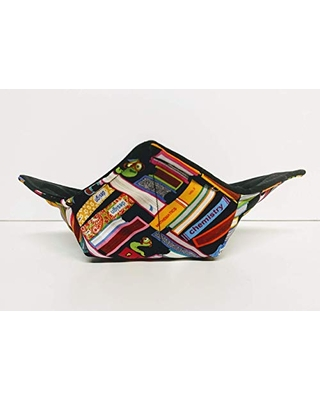 Book and Book Worm quilted cotton reversible microwavable soup bowl holder or cozy