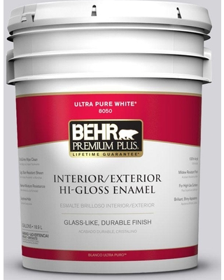 BEHR Premium Plus 5 gal. #N550-1 Mirror Ball Hi-Gloss Enamel Interior/Exterior Paint