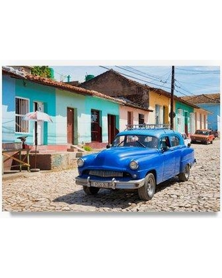 """Trademark Fine Art 'Blue Taxi in Trinidad' Photographic Print on Wrapped Canvas PH00758-C Size: 30"""" H x 47"""" W"""