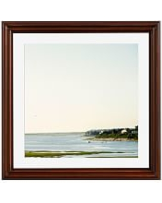 "Bay Morning by Cindy Taylor, 18 x 18"", Ridged Distressed, Frame, Espresso, Mat"