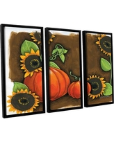 """The Holiday Aisle 'Pumpkins and Sunflowers' 3 Piece Framed Painting Print on Canvas Set THDA8000 Size: 36"""" H x 54"""" W x 2"""" D"""