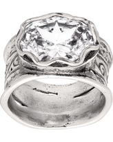 Silpada 'Rustic Royalty' 7 ct Cubic Zirconia Statement Ring in Sterling Silver, Size 6