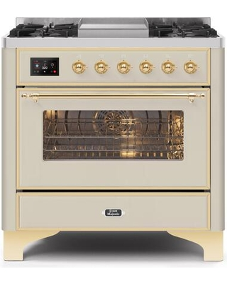 """UM09FDNS3AWG 36"""" Majestic II Series Dual Fuel Natural Gas Range with 6 Burners and Griddle 3.5 cu. ft. Oven Capacity TFT Oven Control Display"""