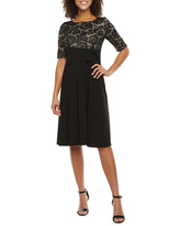 Perceptions 3/4 Sleeve Floral Lace Fit & Flare Dress, X-large , Black