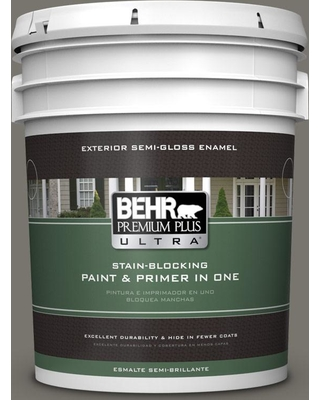 BEHR ULTRA 5 gal. #PPU24-06 Slippery Shale Semi-Gloss Enamel Exterior Paint and Primer in One