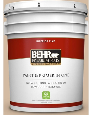 BEHR Premium Plus 5 gal. #N270-3 Coco Flat Low Odor Interior Paint and Primer in One