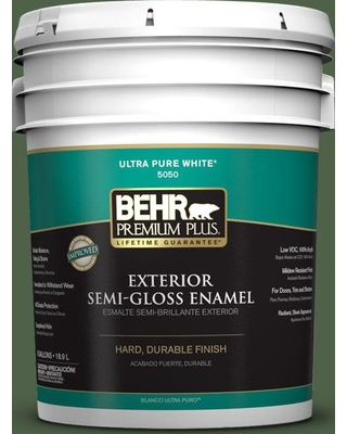 BEHR Premium Plus 5 gal. #ppf-44 Nature Surrounds Semi-Gloss Enamel Exterior Paint and Primer in One