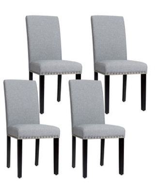 Costway Set of 4 Fabric Dining Chairs w/Nailhead Trim - See Description