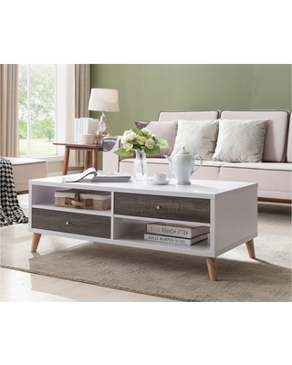 Weller Transitional Two Drawers Coffee Table Distressed Gray And White Homes Inside Out