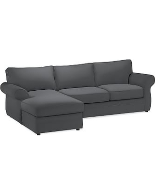 Pearce Roll Arm Upholstered Right Loveseat with Chaise Sectional, Down Blend Wrapped Cushions, Premium Performance Basketweave Charcoal