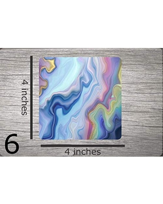 """Agate Geode Rock Design Sublimation Fabric Top Drink Beverage Coasters - 4"""" x 4"""" - 1/8"""" Thick - Black Rubber Back (Set of 4 Coasters)"""