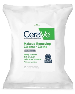 CeraVe Makeup Remover Cleansing Cloths Ultra-Gentle Wipes with Ceramides - 25ct