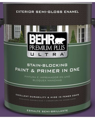BEHR Premium Plus Ultra 1 gal. #S-G-660 Wild Grapes Semi-Gloss Enamel Exterior Paint and Primer in One
