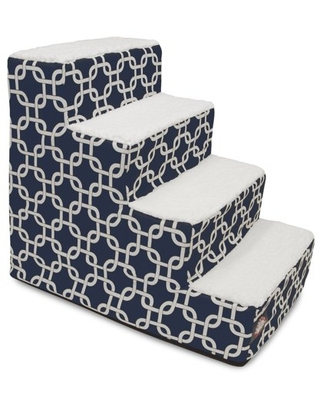 """Majestic Pet Links Pet Stairs 4 Steps Navy Blue Machine Washable Removable Cover 24"""" x 16"""" x 20"""""""