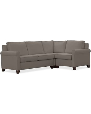 Cameron Roll Upholstered Left Arm 3 Piece Corner Sectional, Polyester Wrapped Cushions, Performance Twill Metal Gray