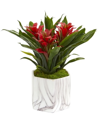 """11"""" Bromeliad Plant in Marble Finished Vase By Nearly Natural in Green 
