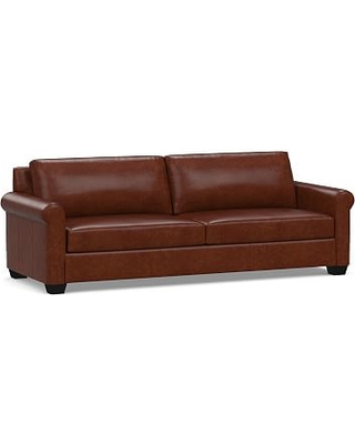 "York Roll Arm Leather Grand Sofa 98"", Polyester Wrapped Cushions, Statesville Molasses"