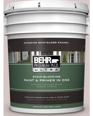 BEHR ULTRA 5 gal. #730A-3 Lilac Tan Semi-Gloss Enamel Exterior Paint and Primer in One