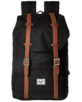 Herschel Supply Co. Retreat Mid-Volume (Black/Tan Synthetic Leather) Backpack Bags