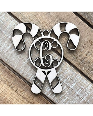 Monogram Candy Cane Christmas Ornament - Laser Cut Natural Wood Christmas Ornament - Personalized Holiday Ornament - Candy Cane Ornament