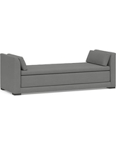 Luna Upholstered Daybed Sleeper, Polyester Wrapped Cushions, Basketweave Slub Charcoal