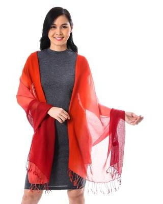 Ombre Cotton Shawl in Red and Orange from Thailand