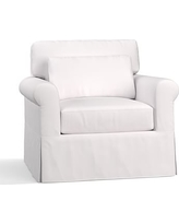 York Roll Arm Slipcovered Deep Seat Armchair, Down Blend Wrapped Cushions, Twill White