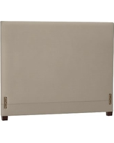 Raleigh Upholstered Square Low Headboard without Nailheads, Queen, Sunbrella(R) Performance Herringbone Light Gray