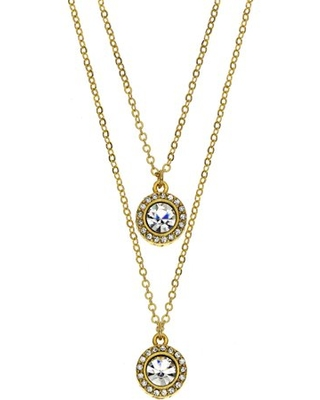 Gallery Handset Austrian Crystal 14kt Gold-Plated Drop Necklace with Two 6mm Crystal Medallions