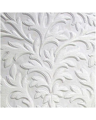 Anaglypta High Leaf Paintable Wallpaper, White & Off-White