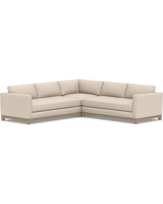 Jake Upholstered 3-Piece L-Shaped Corner Sectional with Wood Legs, Polyester Wrapped Cushions, Performance Everydaylinen(TM) by Crypton(R) Home Oatmeal