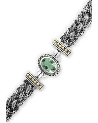 Effy Silver/Gold Sterling Braided Silver and 18K Yellow Gold Green Amethyst Bracelet