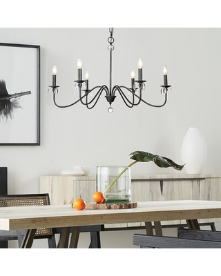 Beth 6 - Light Candle Style Classic Chandelier with Crystal Accents