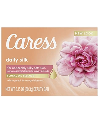 Caress Beauty Bar Soap For Noticeably Silky Soft Skin Daily Silk Extract and Floral Oil Essence 3.15 oz, Pack of 12