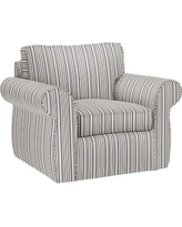 Pearce Slipcovered Swivel Armchair, Down Blend Wrapped Cushions, Antique Stripe Blue