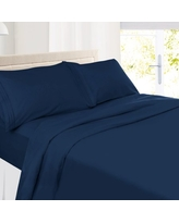 Clara Clark Premier 1800 Collection Deluxe Microfiber 3-Line Bed Sheet Set, Full Size, Navy Blue