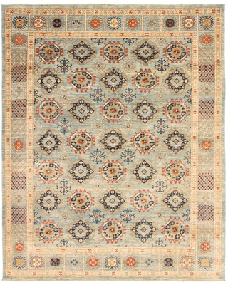 "Hand-knotted Finest Peshawar Ziegler Blue Wool Rug (Light Blue - 8'0 x 10'1/8'0"" x 10'1"")"