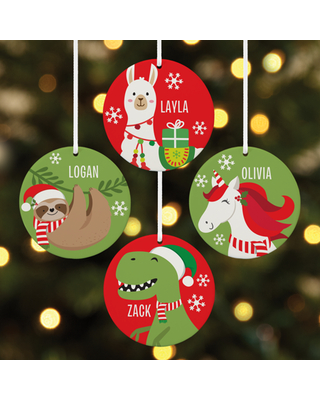 Personalized Fa La La Friends Round Christmas Ornament - Available in 4 Characters
