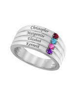 Laser Engraved Family Ring with Up to Four Birthstones